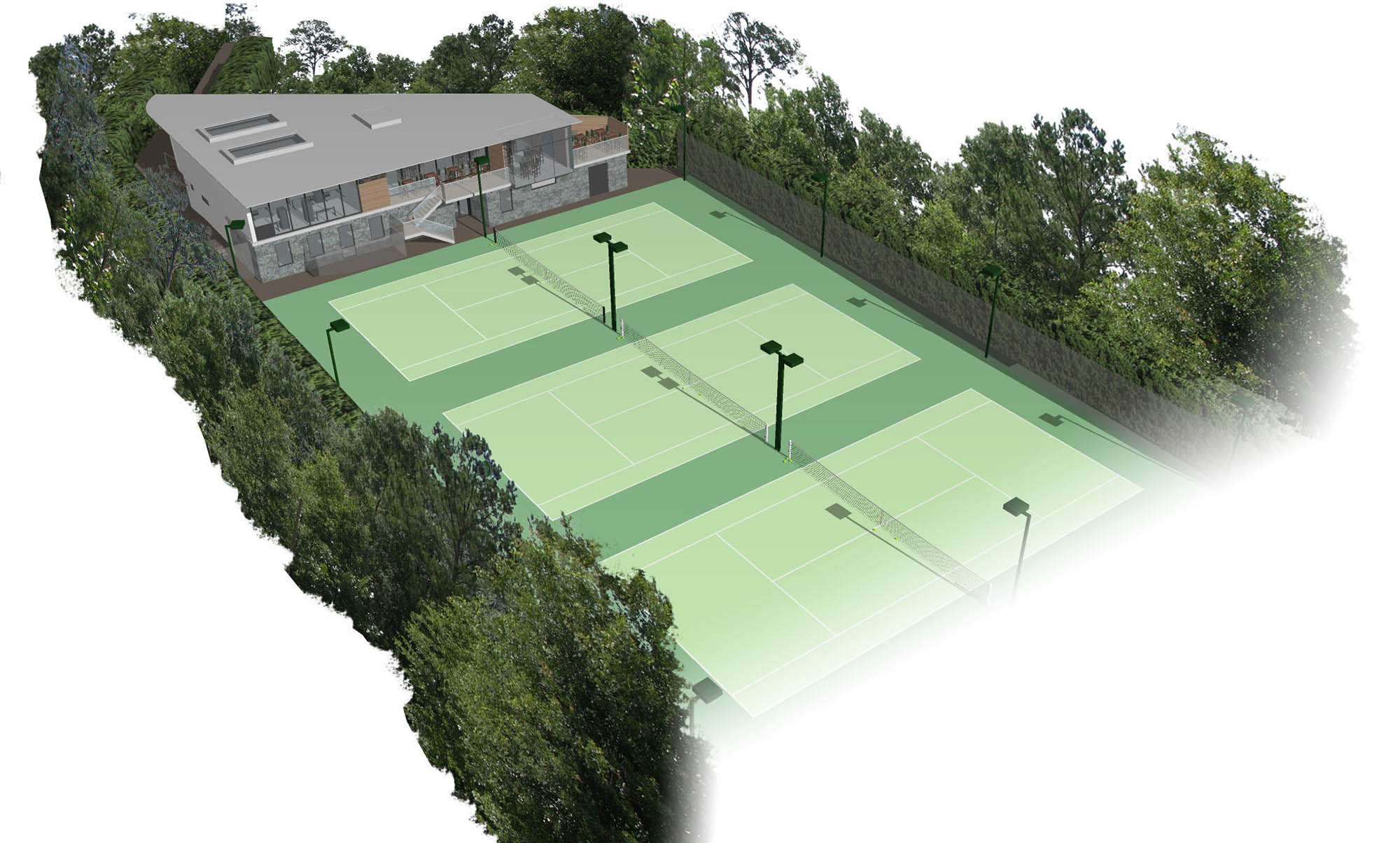 Aerial view of proposed plan for new pavilion and tennis courts for The Gardens Tennis Club