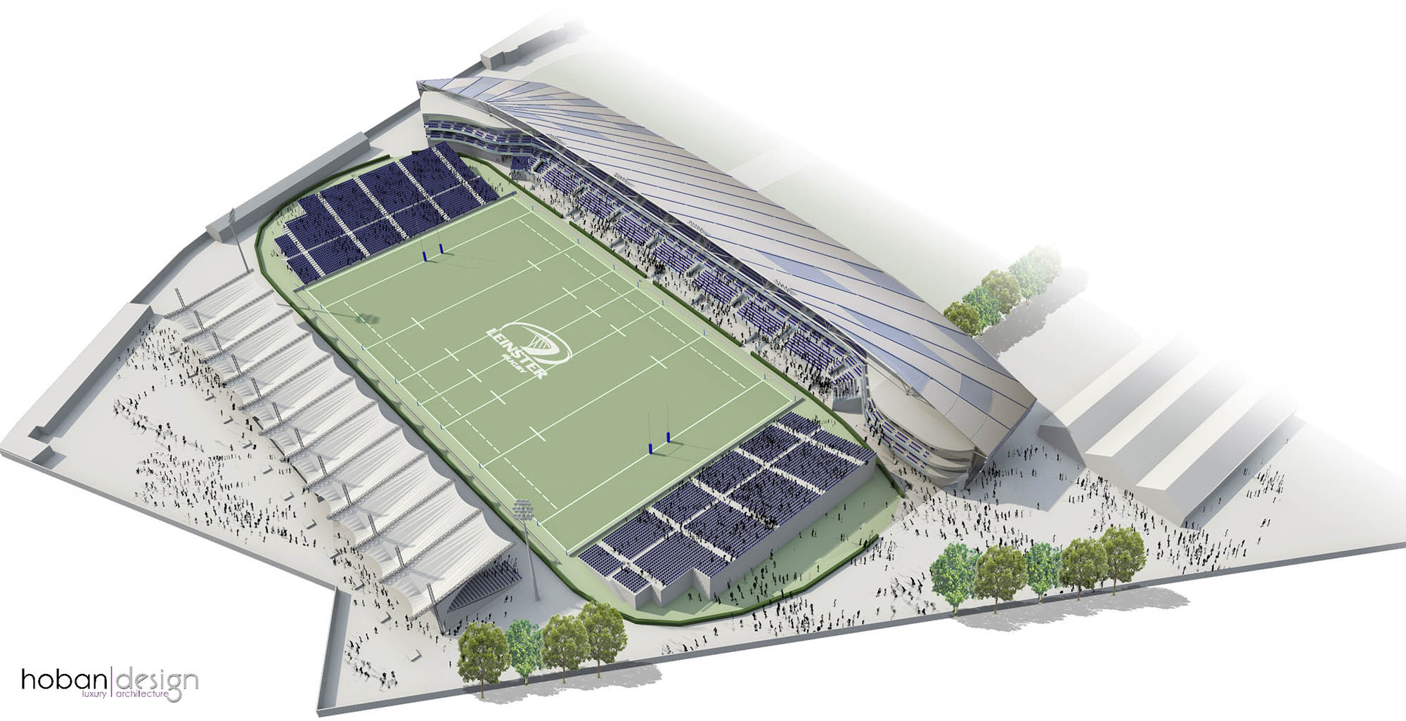 Aerial 3D render of RDS Leinster Rugby Arena design for Competition by Hoban Design Architects