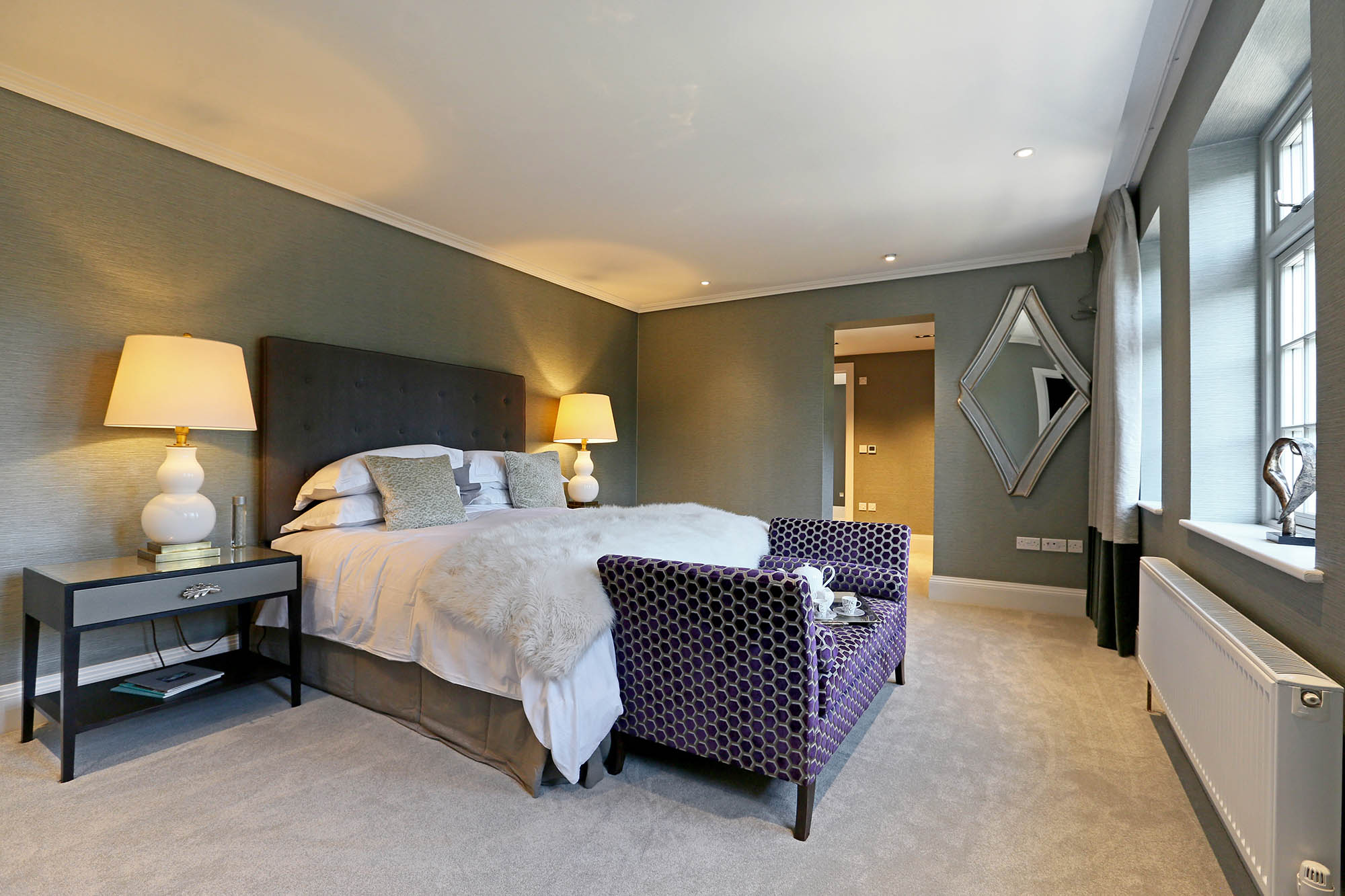 Completed luxury master bedroom for Putney period restoration project