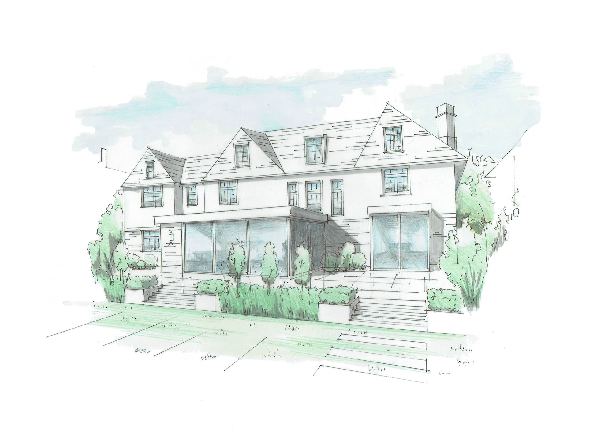 Rear elevation architect's sketch / design plan for the modern extension and restoration of a period home in Putney.
