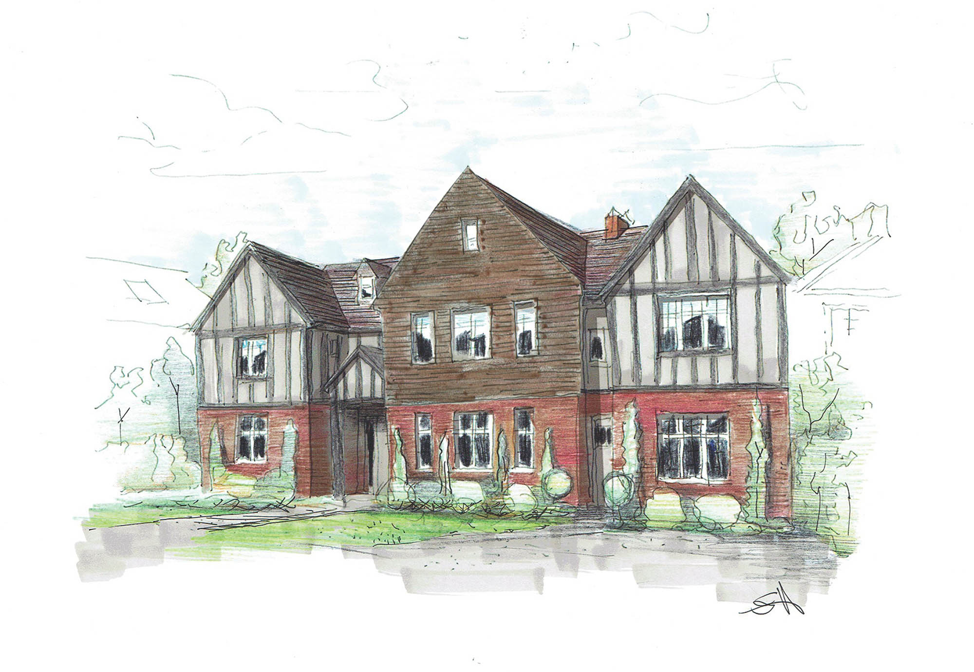 Front elevation design sketch / architecture plan for Putney restoration project