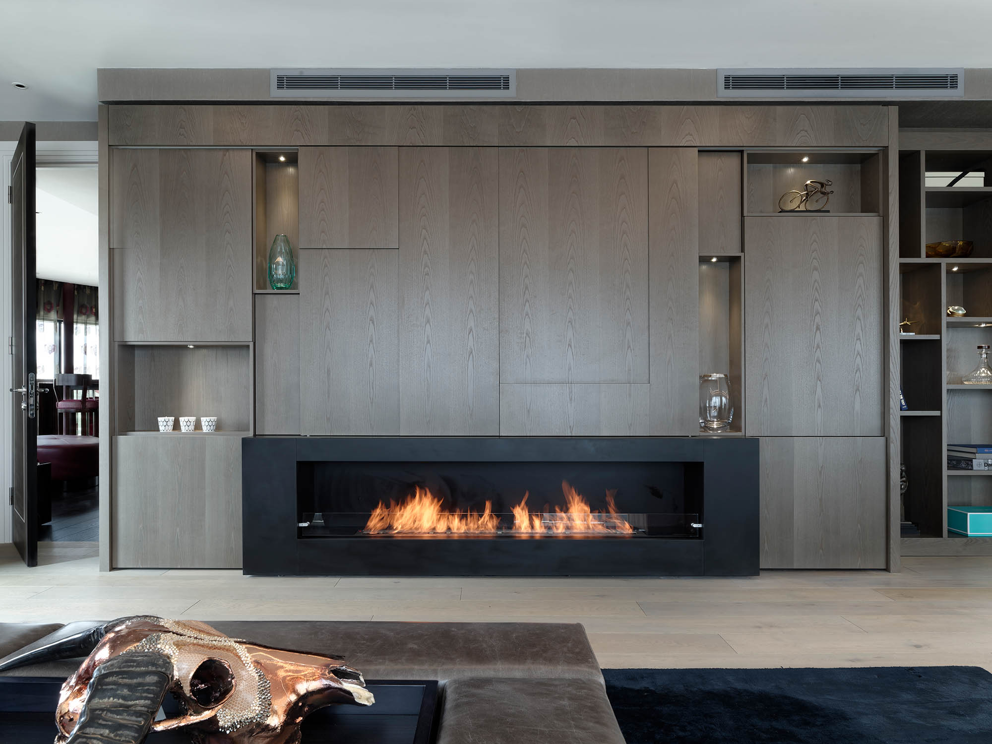 Feature letterbox fireplace, media wall and display cabinet for Luxury Chelsea Penthouse renovation