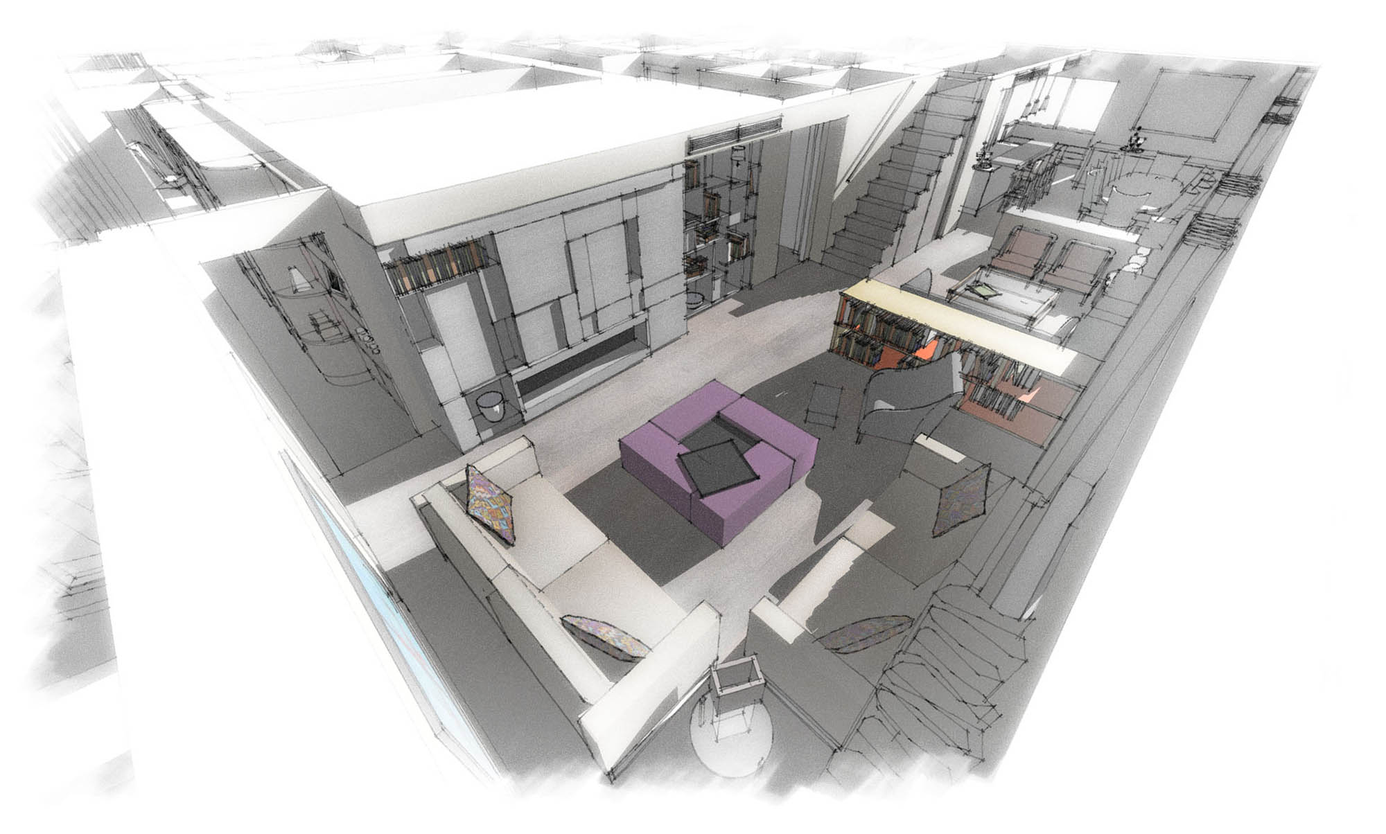 Design plans for main sitting area/lounge in the Chelsea Penthouse