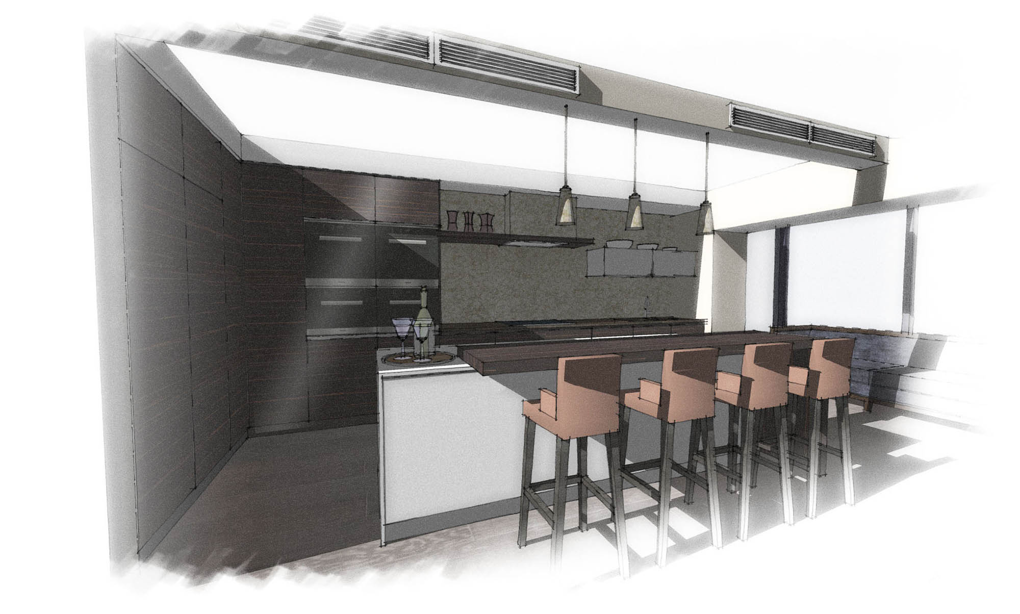 Design sketch for the Chelsea Luxury Penthouse Kitchen