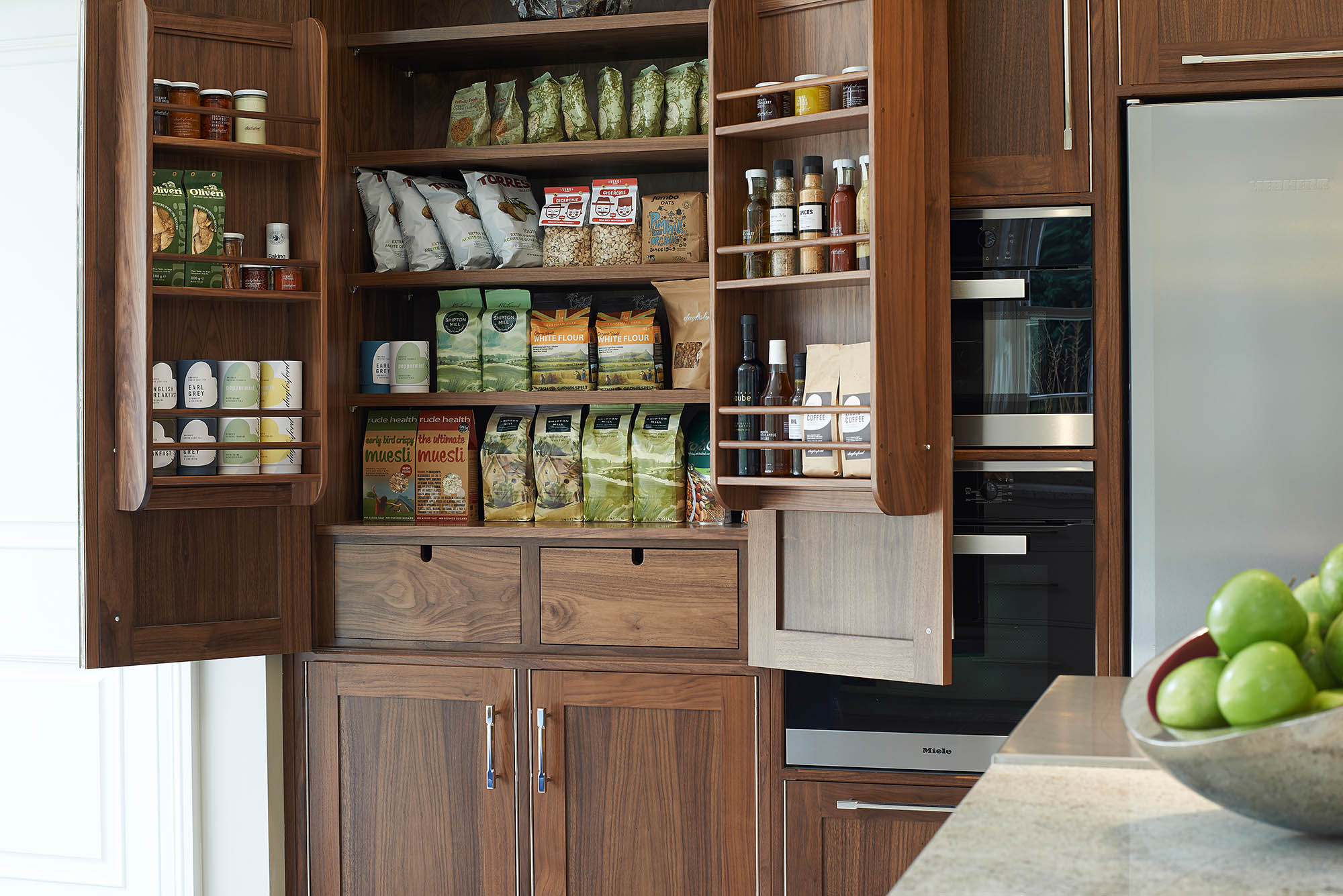 Large American walnut pantry cabinet for Coombe Estate David Linley Kitchen