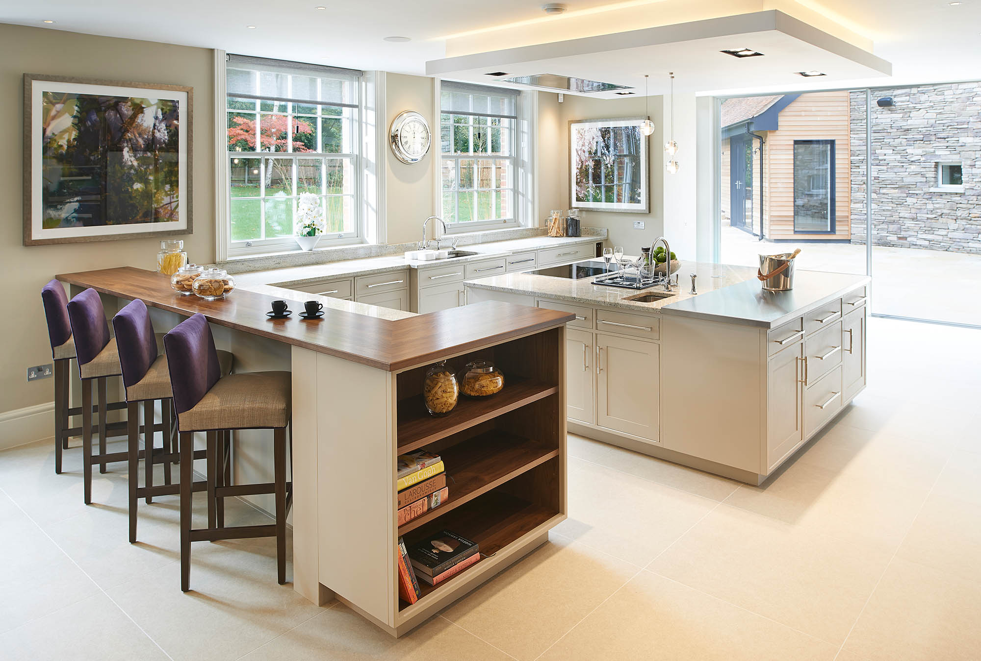 David Linley Kitchen Design for Coombe Estate Home with shaker cabinets, large island and breakfast bar