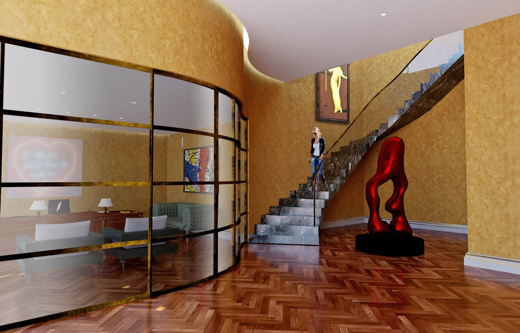 3D render of spiral staircase connecting the private art gallery to the main house
