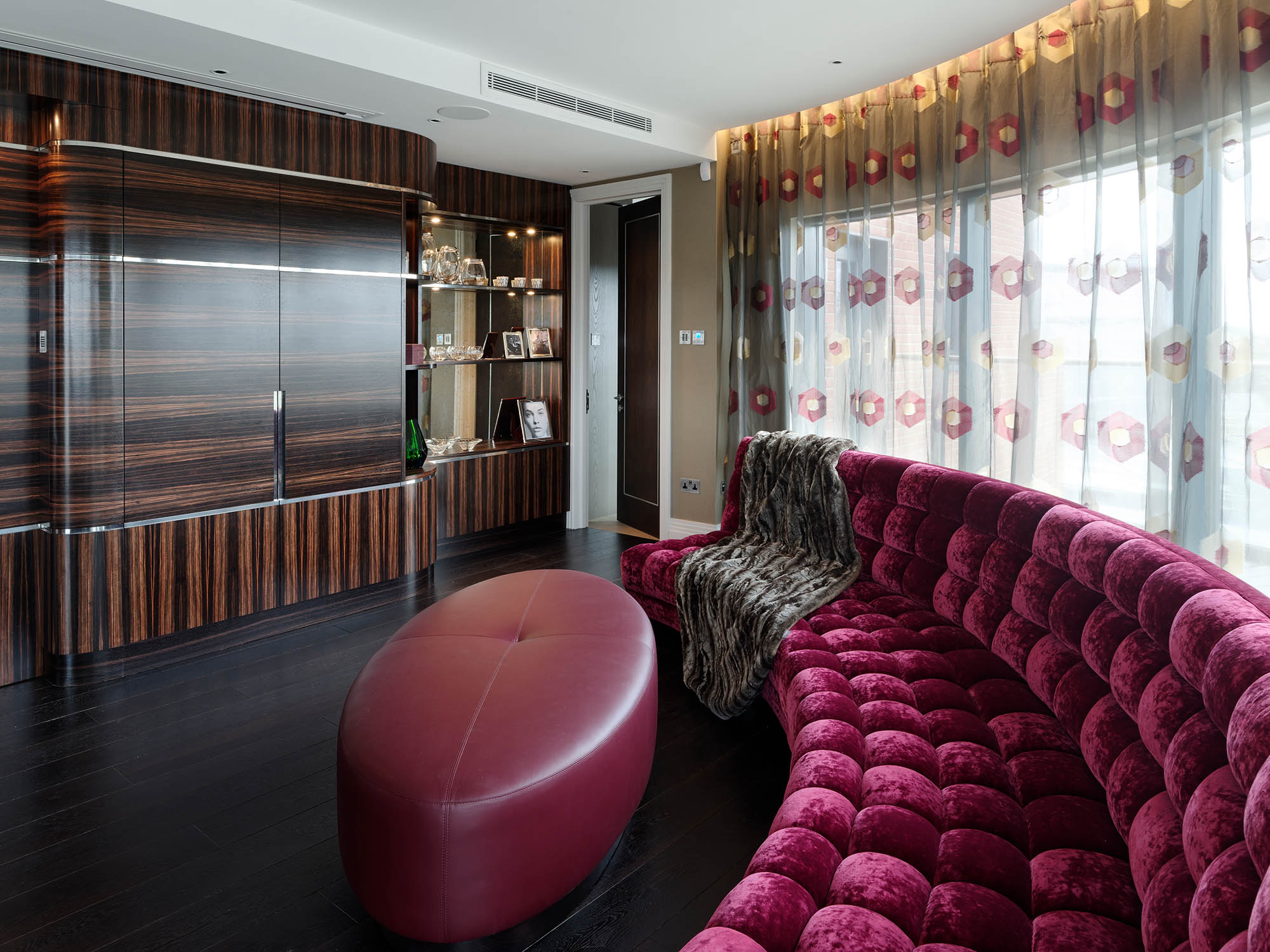 Completed reception/sitting area with drinks cabinet for retro luxury Chelsea Penthouse apartment renovation
