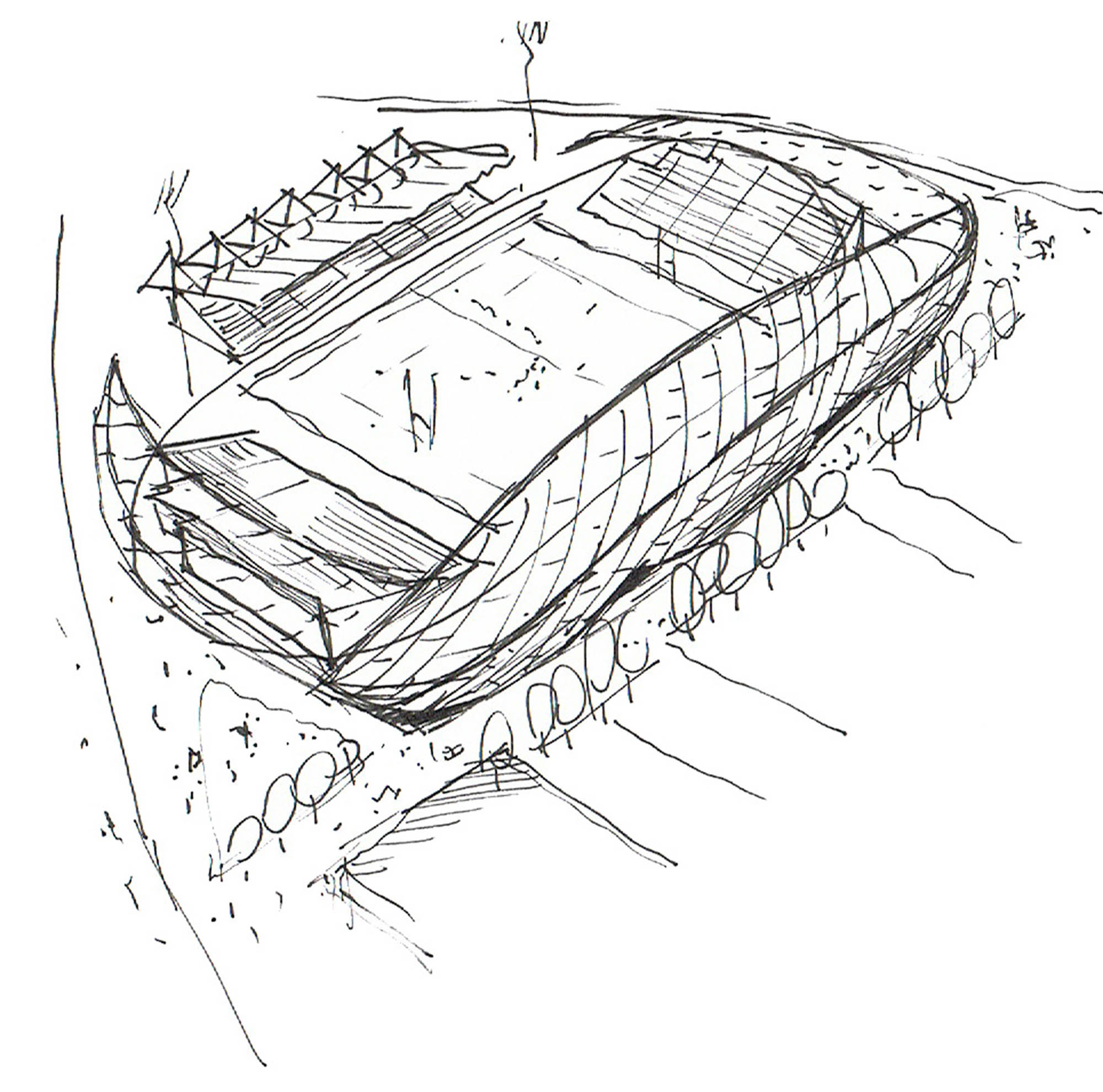 RDS arena architect's sketch for design proposal competition