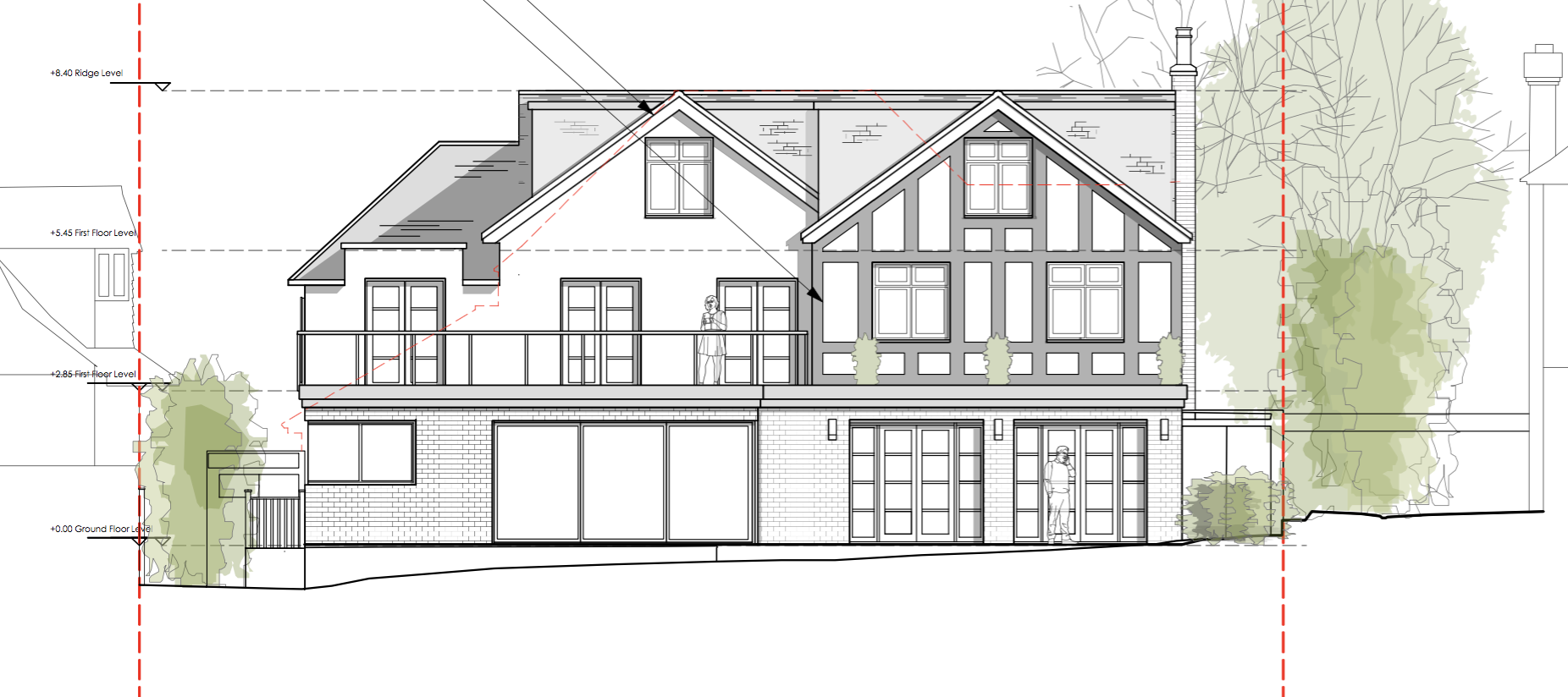 Rear elevation architectural plans for Surbiton home renovation