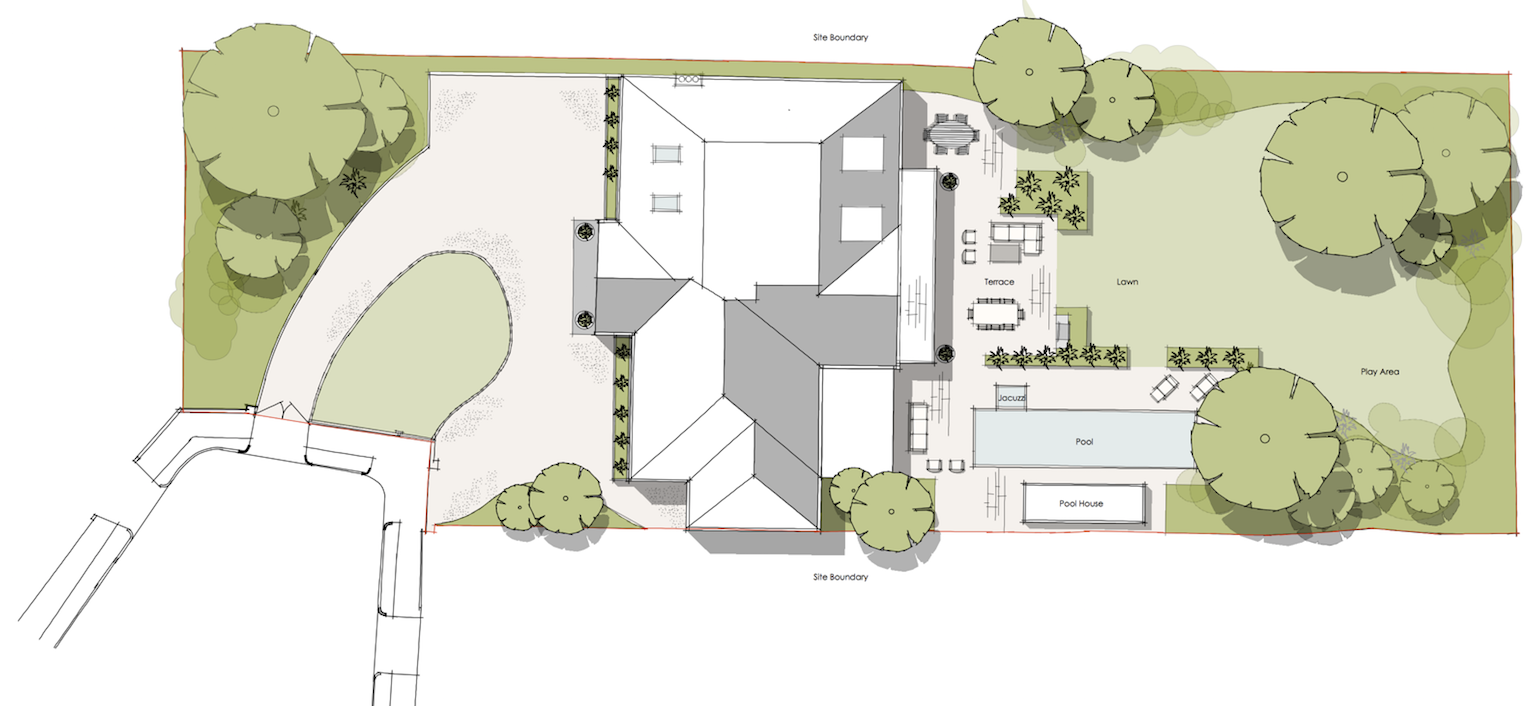 Aerial plan of detached Wimbledon home with extensions and refurbishment including pool area.