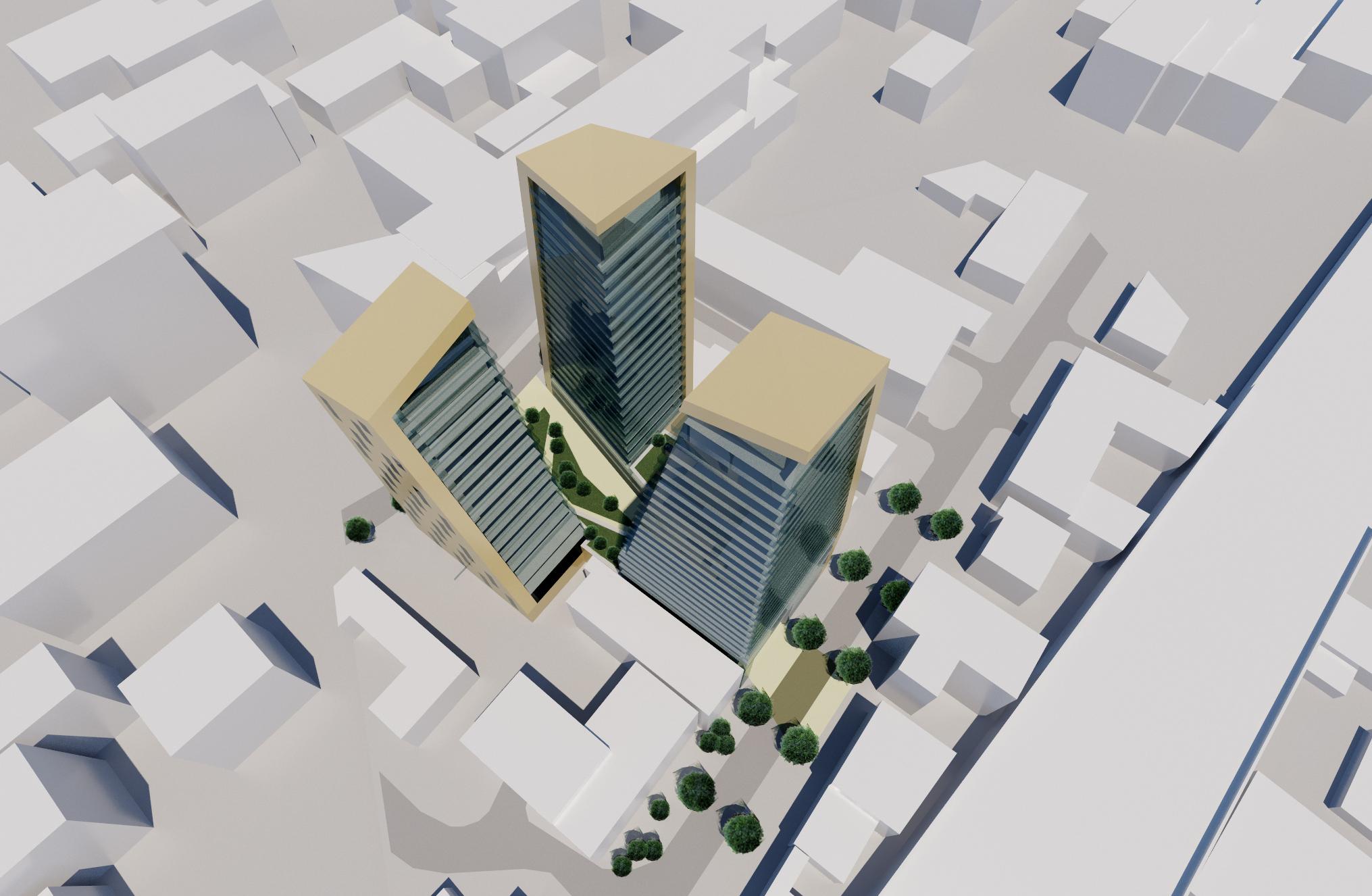Aerial 3D design proposal for Romford Development apartment blocks