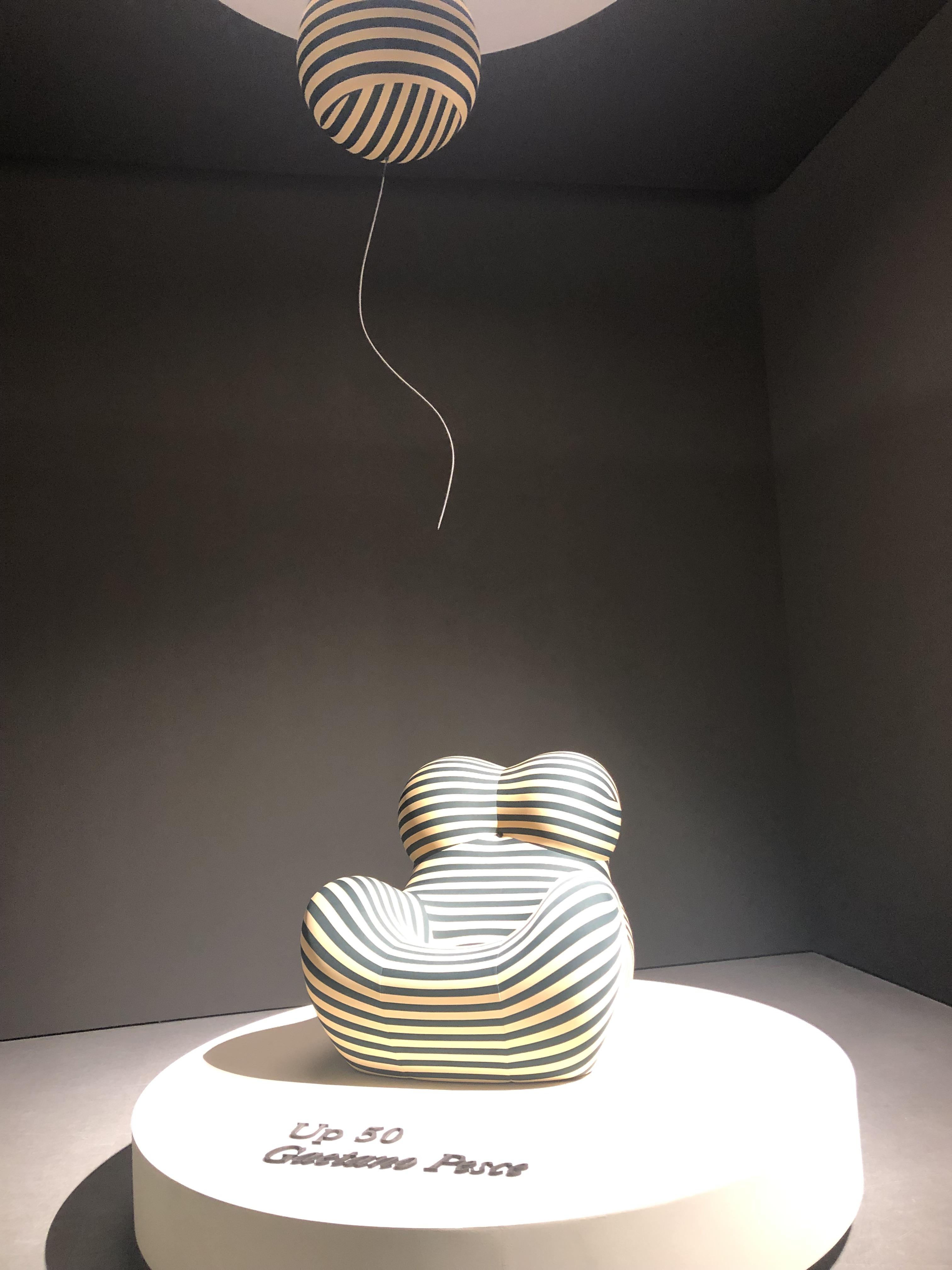 B&B Italia black and white striped chair and balloon at Salon Del Mobile 2019