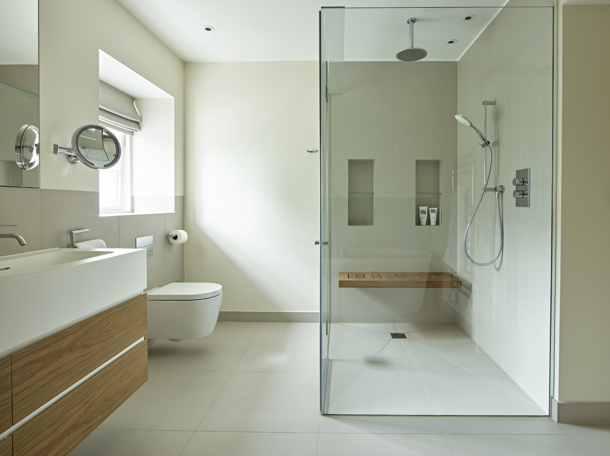 Family Bathroom with Walk-In Shower and Custom-Built Shower Bench