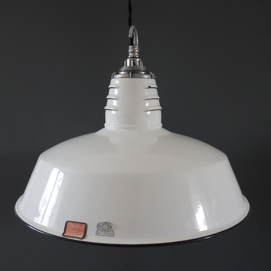 White industrial pendants by Miller Co