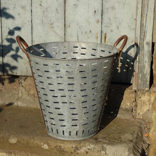 Vintage olive picking metal bucket