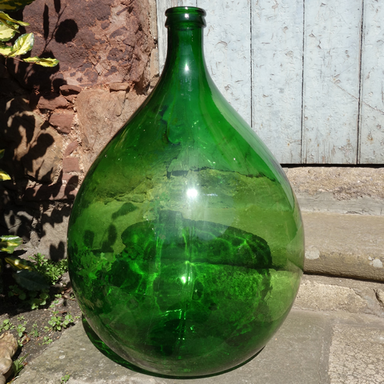 Vintage handblown glass demijohn -E-