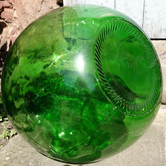 Vintage handblown glass demijohn -E-