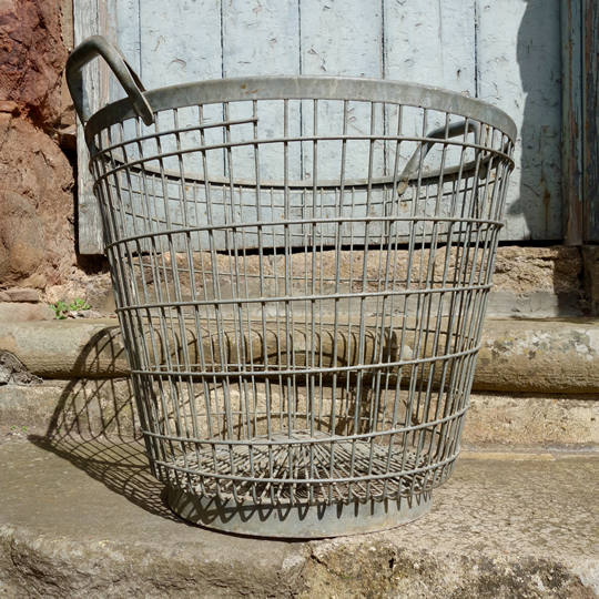 Vintage galvanised metal wire basket