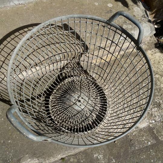 Vintage galvanised metal wire basket