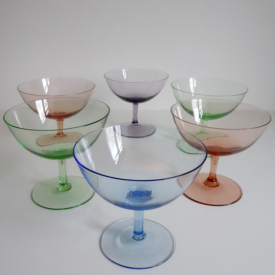 Vintage colour cocktail glasses