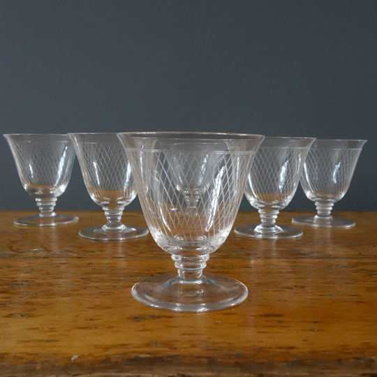 Small etched crystal glasses