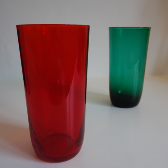 Vintage coloured glass tumblers