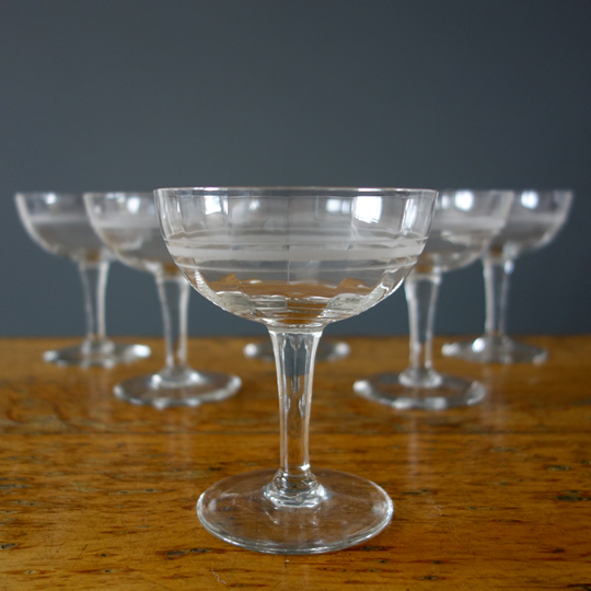 Vintage etched cocktail glasses