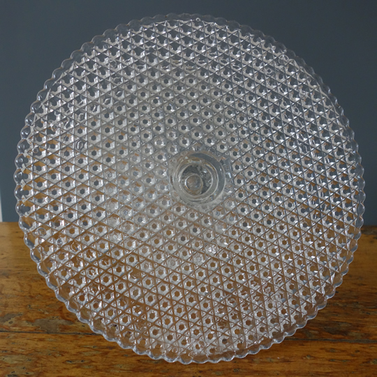 Vintage glass cake stand -E-
