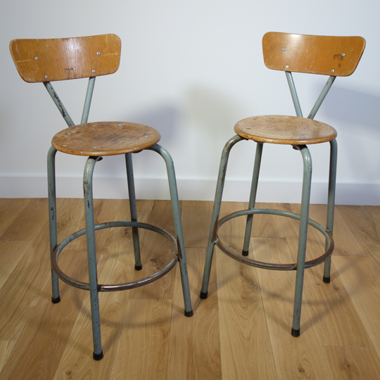 Vintage metal stool chairs