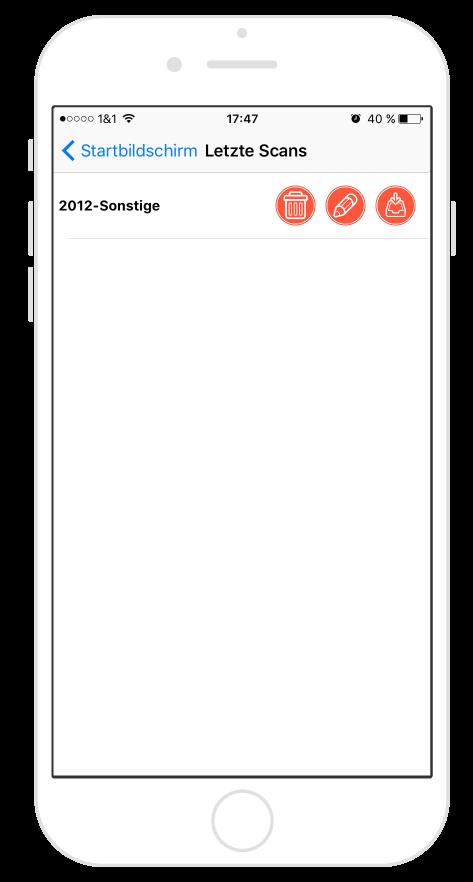 Steuer-ScanApp Letzte Scans (iOS)