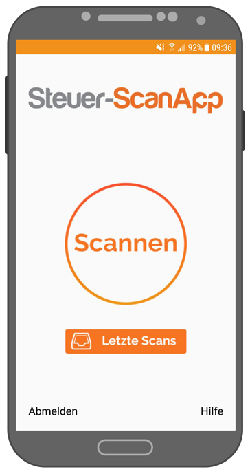 Steuer-ScanApp Startbildschirm (android)