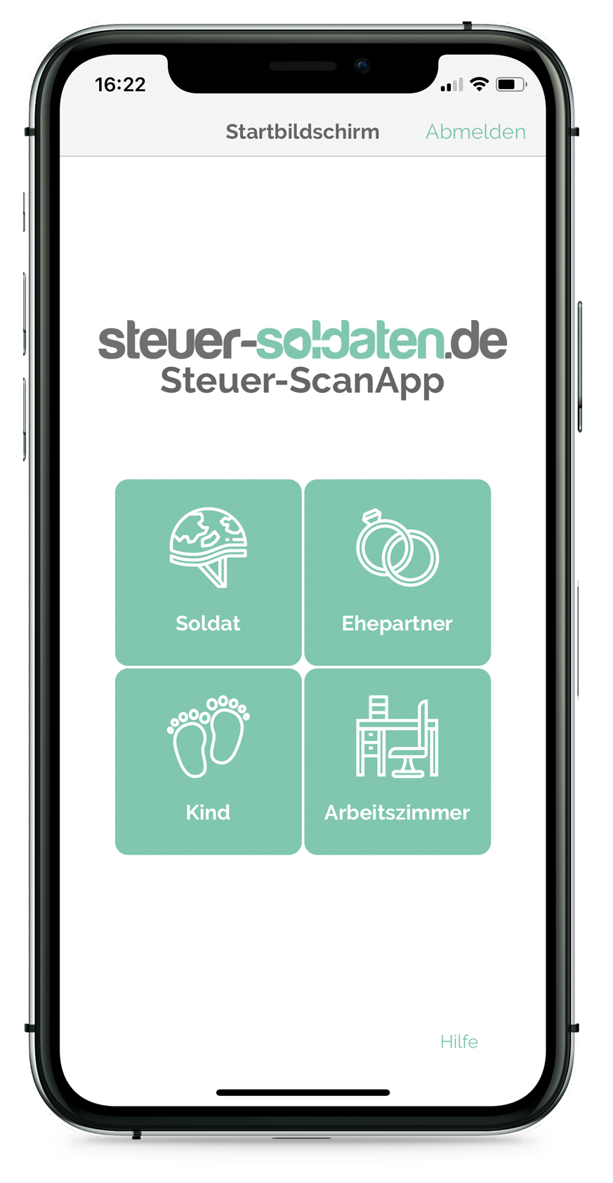 Steuer-ScanApp Startbildschirm (iOS)