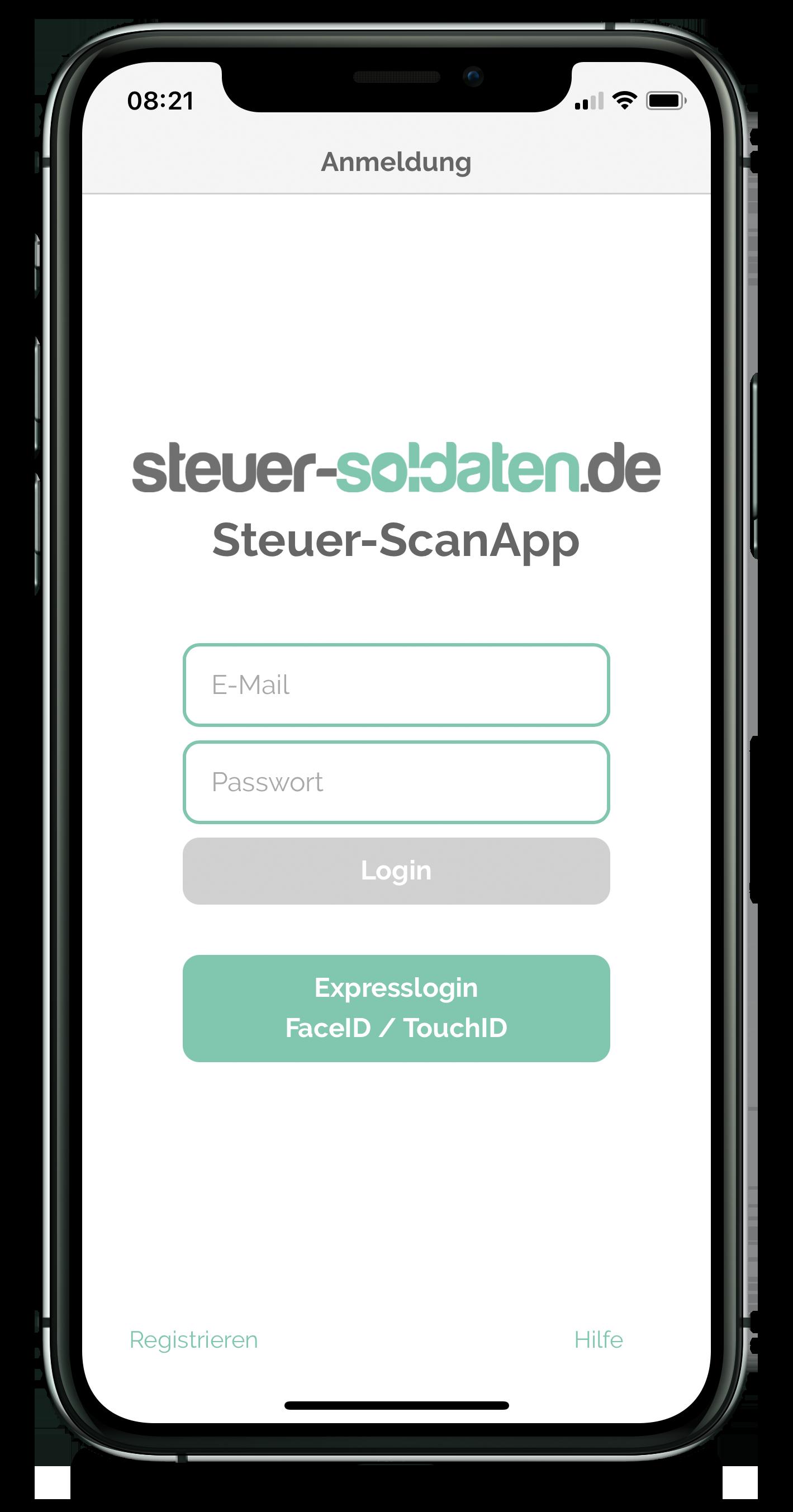 Steuer-ScanApp Anmeldung (iOS)