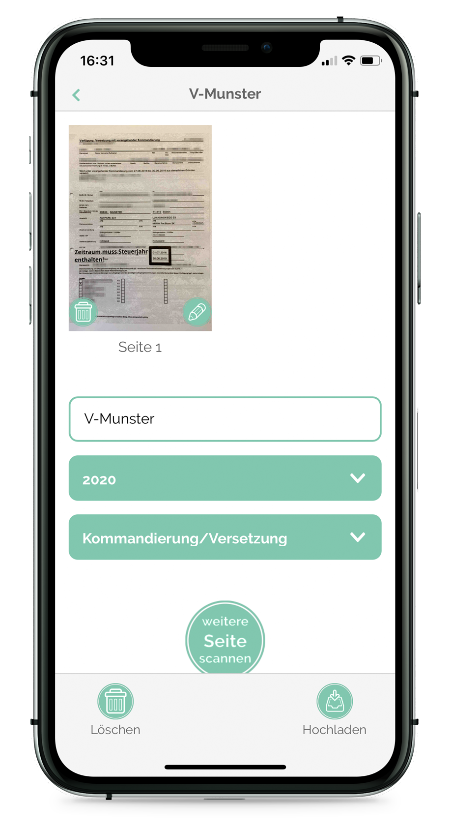 Steuer-ScanApp Scanvorschau (iOS)