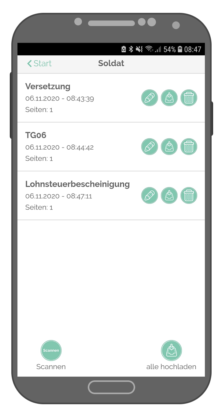 Steuer-ScanApp Letzte Scans (android)