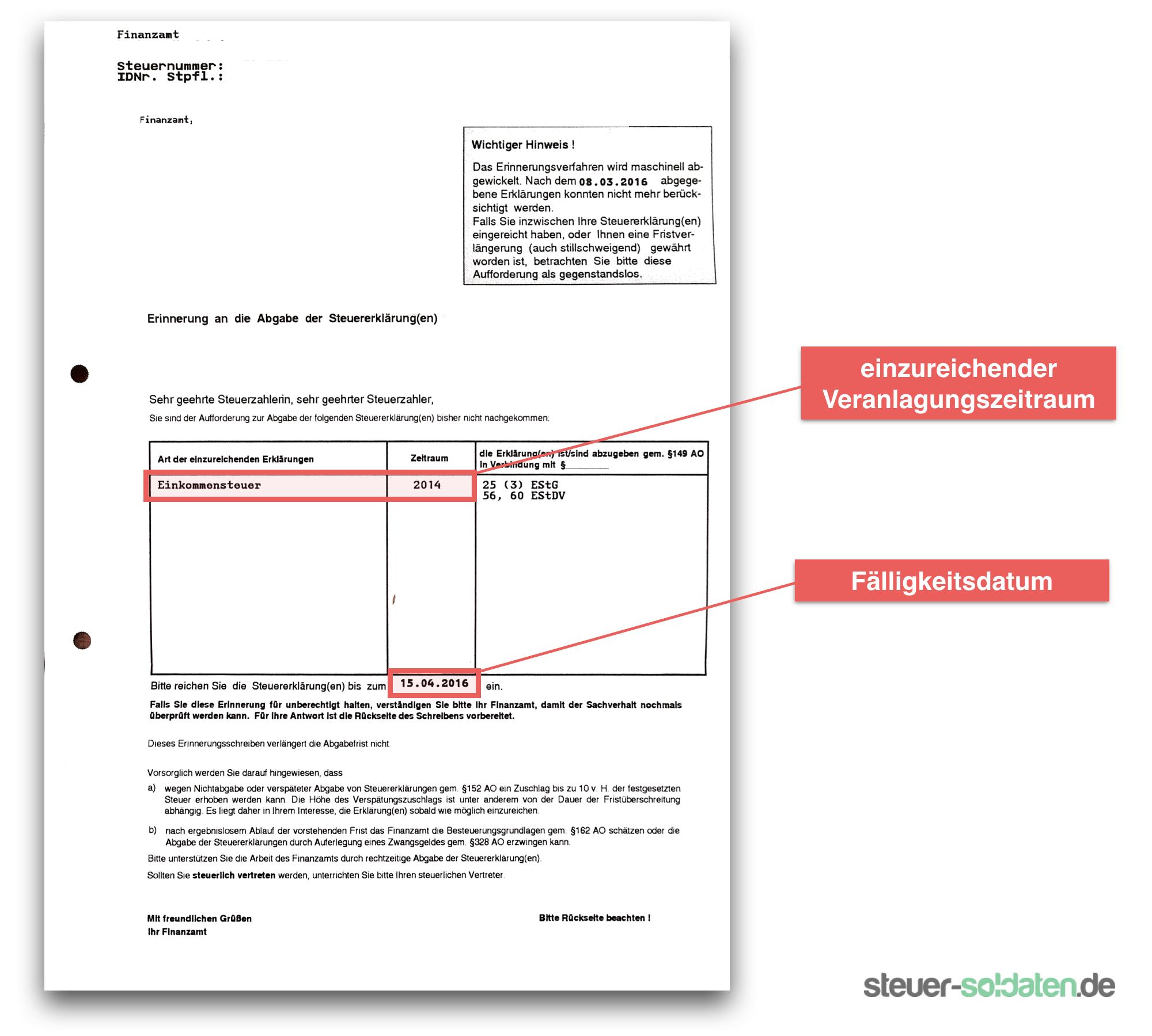 Abgabepflicht Steuererklärung Soldaten - Aufforderung Finanzamt