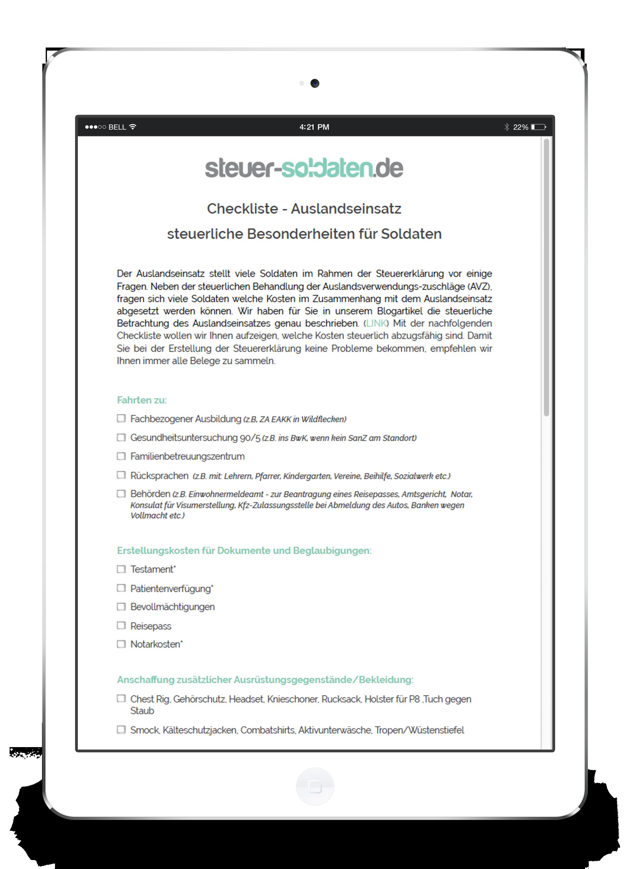 steuer-soldaten.de - Checkliste Auslandseinsatz Bundeswehr auf einem iPad