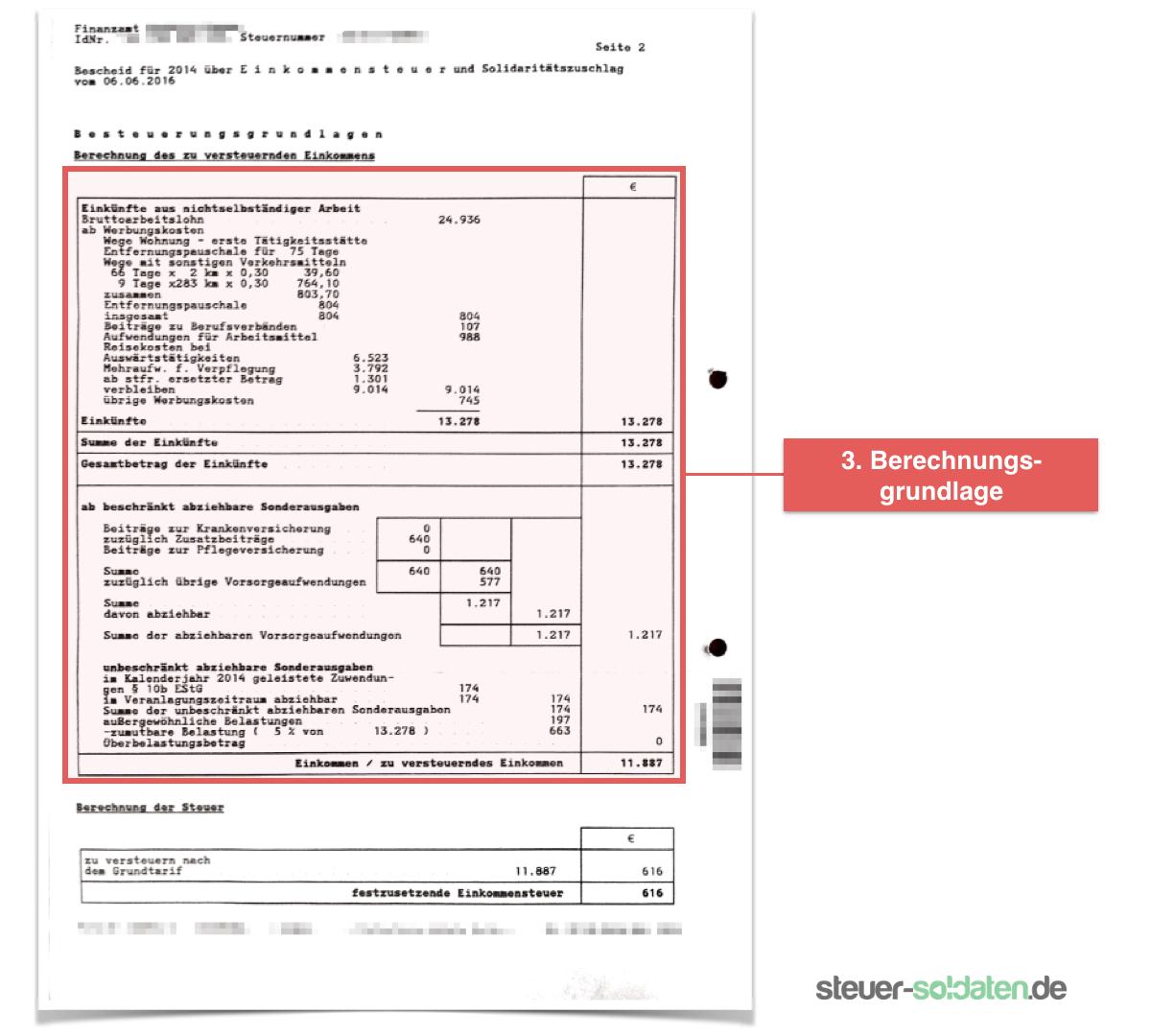 Steuererklärung Soldaten - Steuerbescheid richtig lesen