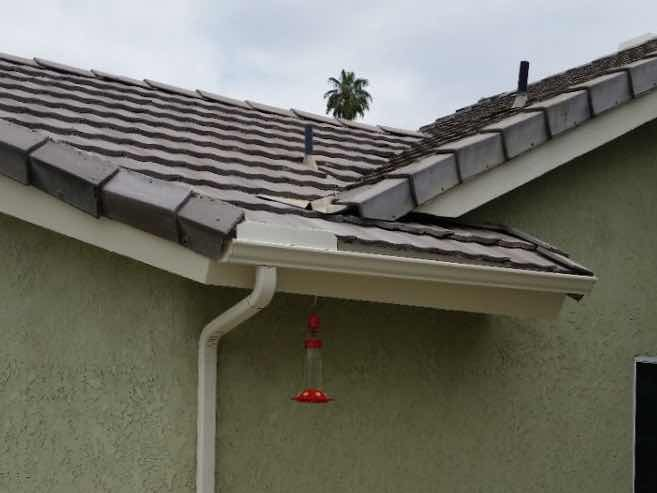 Seamless rain gutter installed in Riverside CA