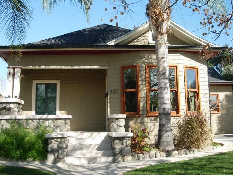 San Bernardino home with a new rain gutter installed.