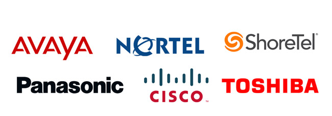 Avaya, Nortel, ShoreTel, Panasonic, Cisco, Toshiba
