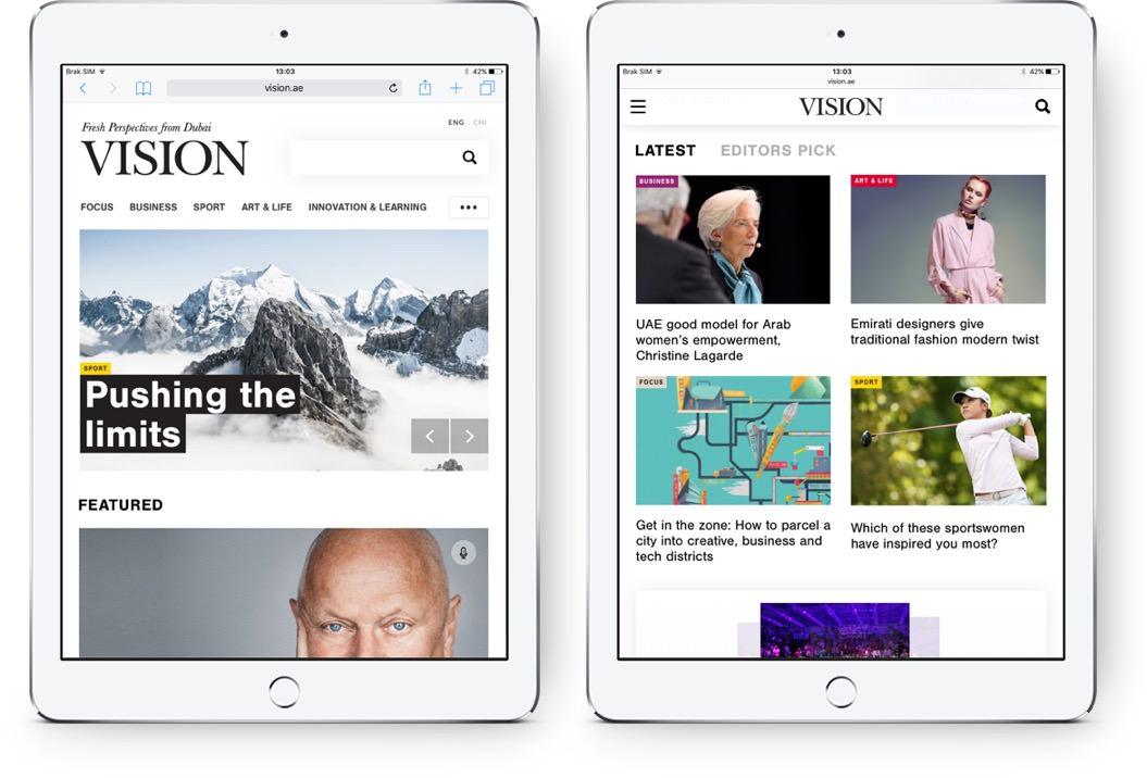Vision Magazine Website on iPad