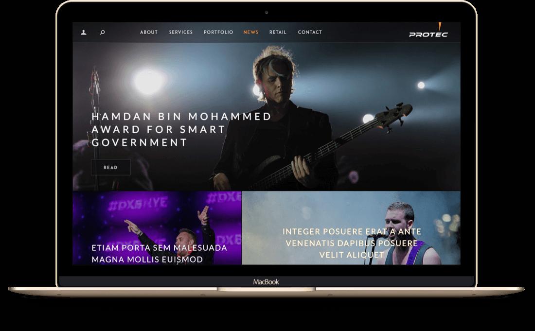 Protec Website on Tablet