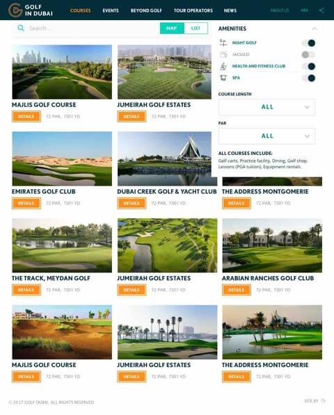 Golf in Dubai Website
