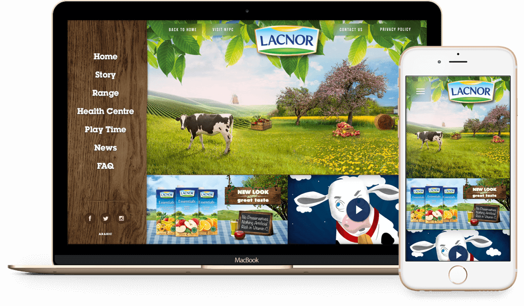 Lacnor website on desktop and phone