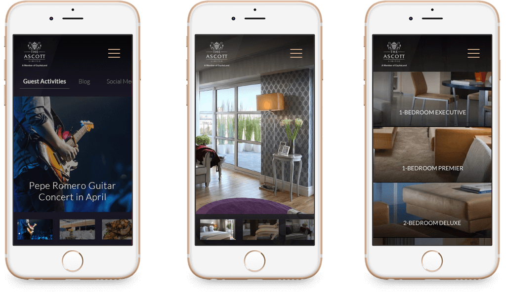Ascott Hospitality Website on Mobile