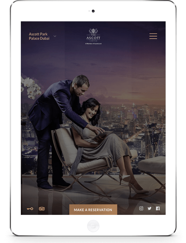 Ascott Hospitality Website on Tablet