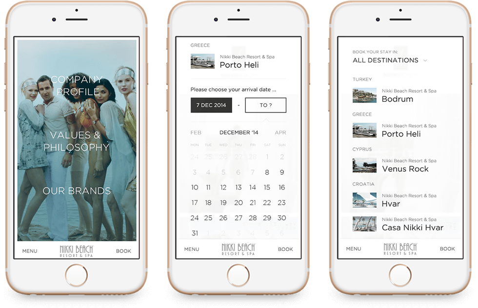 Nikki Beach Hotel Website on Mobile