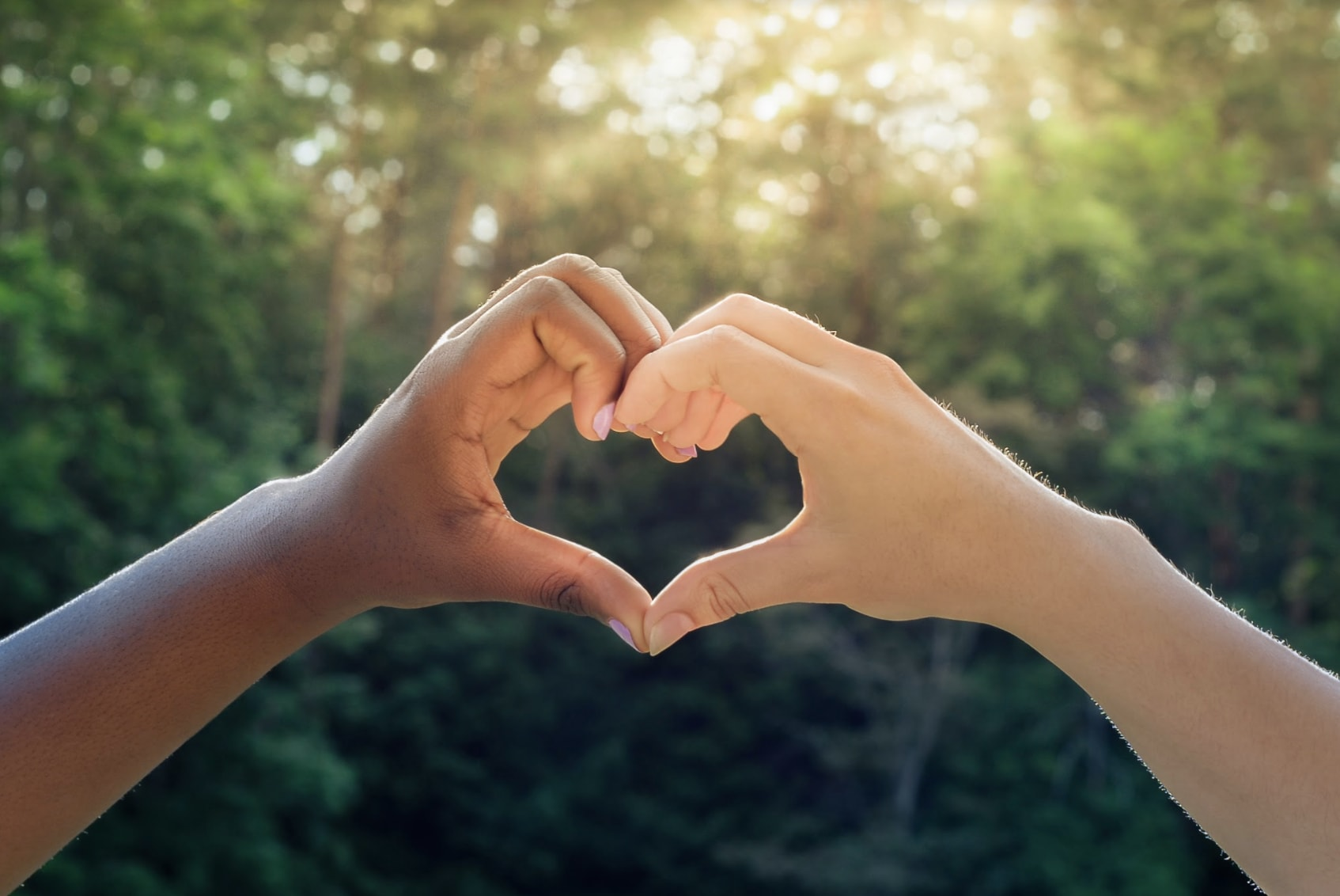 People make a heart shape with their hands.